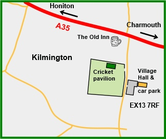 Map for Kilmington Village Hall, venue for winter meetings